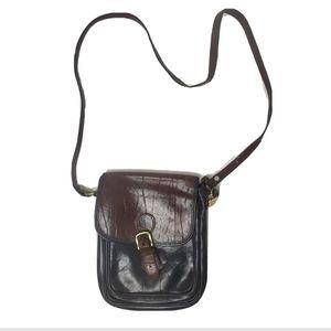 Brahmin vintage crossbody bag leather brown gold